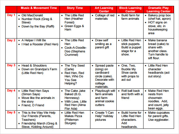 Sample Preschool Lesson Plan 9 Examples Format