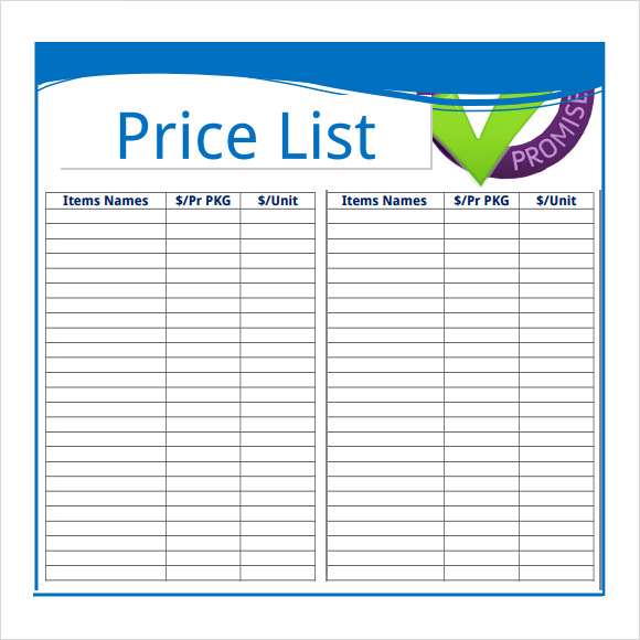 Sample Price Sheet   Examples Format