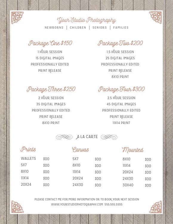 Price List Sell Sheet Template PSD  Price Sheet Template