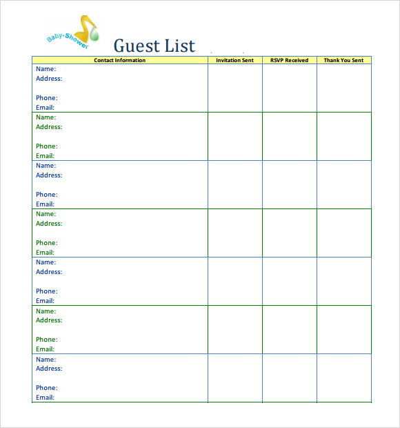 printable baby shower guest list – Baby Shower Guest List Template