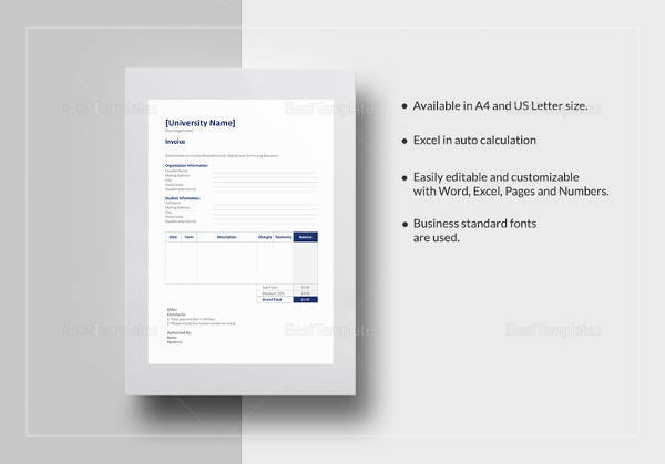 printable education invoice template