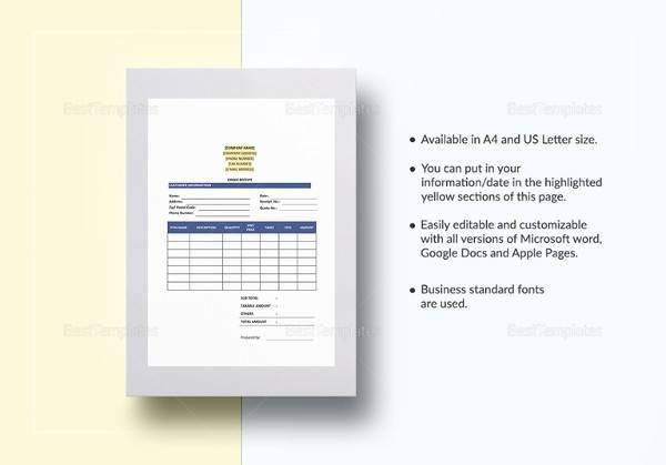 printable order receipt template