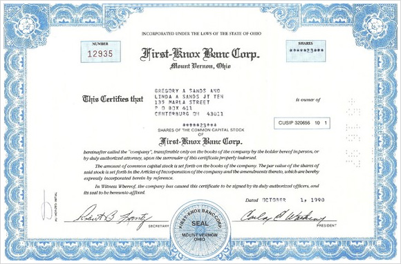 Stock Certificate Template - Online stock certificate template