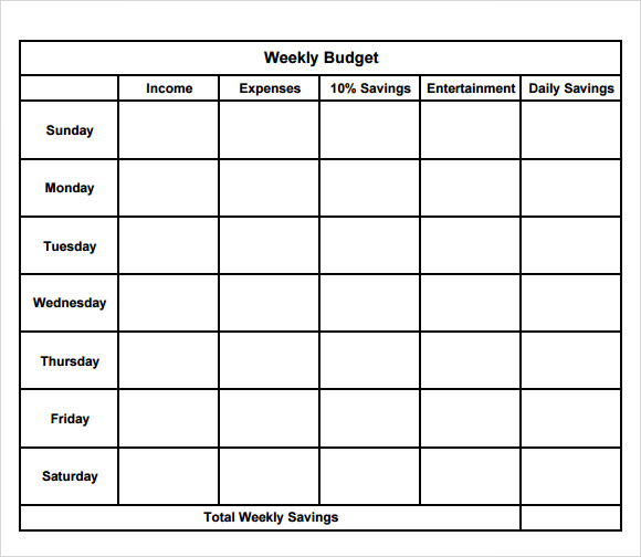 8 Weekly Budget Samples Examples Templates Sample Templates