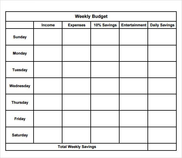 Weekly Budget Template Daily Agenda Calendar – Weekly Budget Worksheet