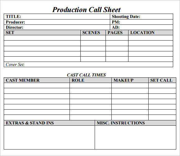 Lovely Production Call Sheet