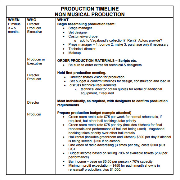 Production Timeline Template - 9+ Download Free Documents In Pdf
