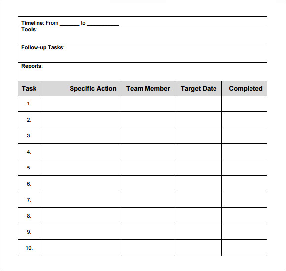 action plan template 9 free samples examples format