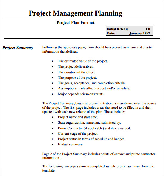 sample project plans
