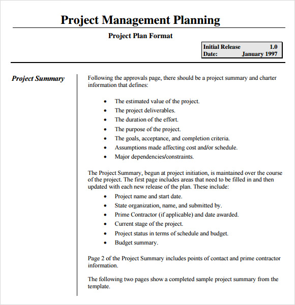Sample Project Plan. Project Management Template Project Planning