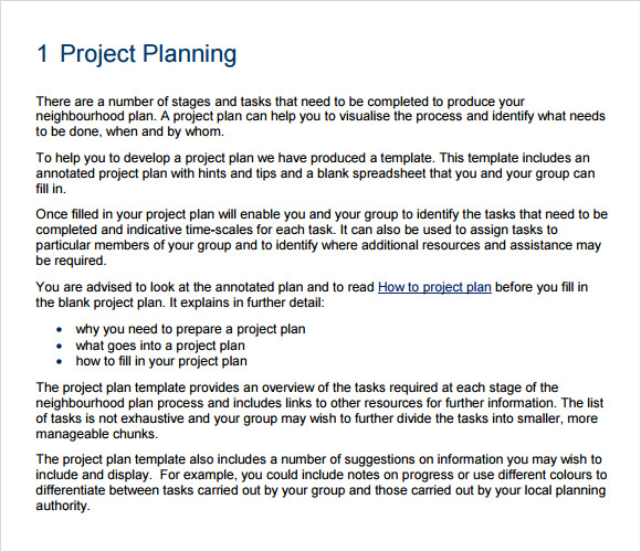 project planning template 9 free samples examples format
