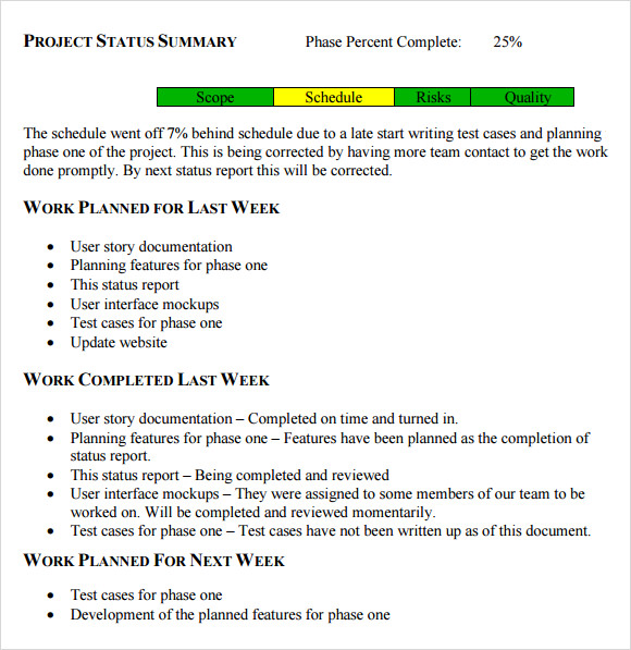 Status Report Sample Weekly Project Progress Report Template Word
