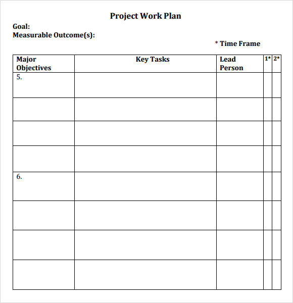 Sample Work Plan   Documents In Pdf Word
