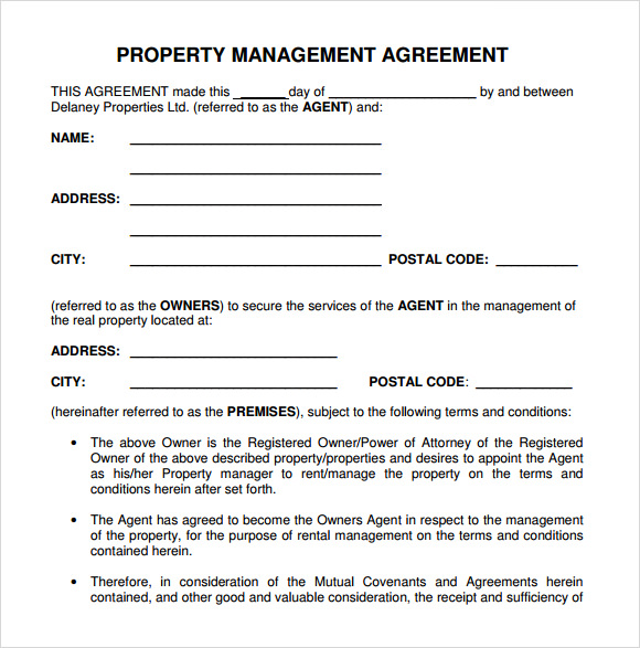 9 sample property management agreement templates to download sample templates. Black Bedroom Furniture Sets. Home Design Ideas