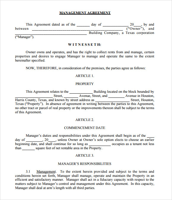 management agreement contract template .