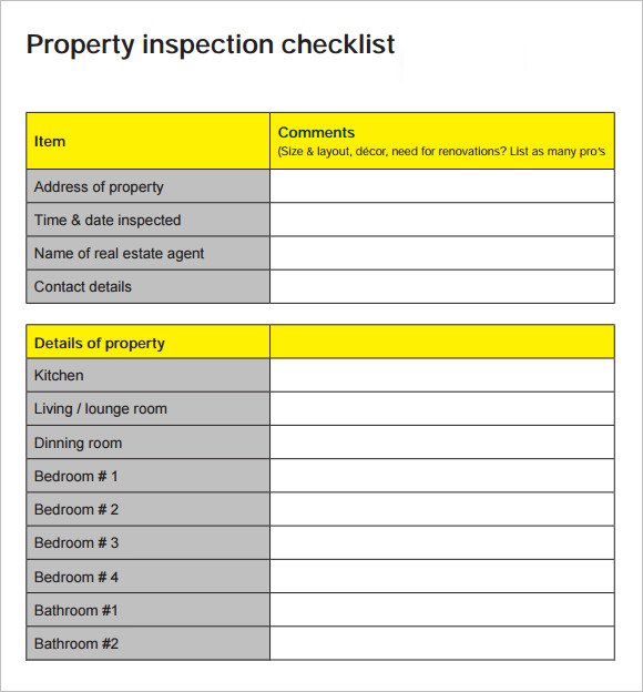 15 sample home inspection checklist templates sample for Rental property inspection checklist template