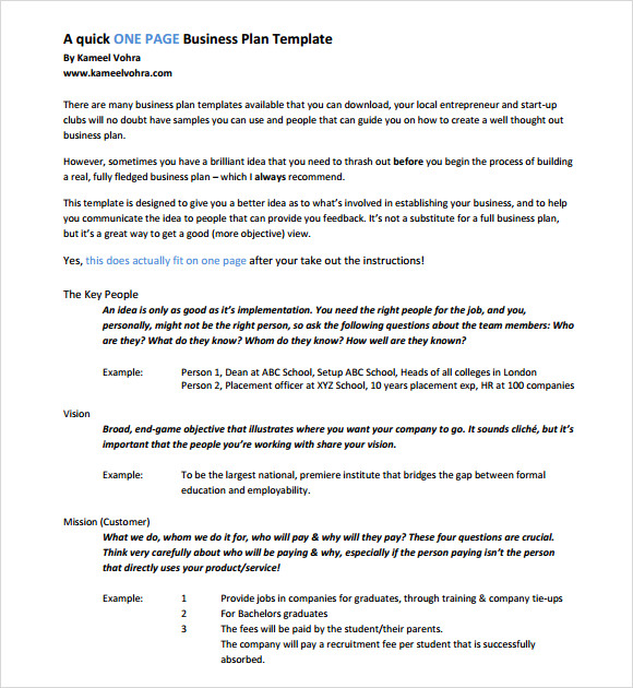 One page business plan pdf