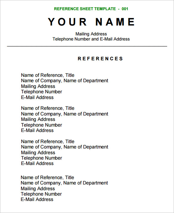 Sample Reference Sheet 8 Examples Format – Template for Reference Page