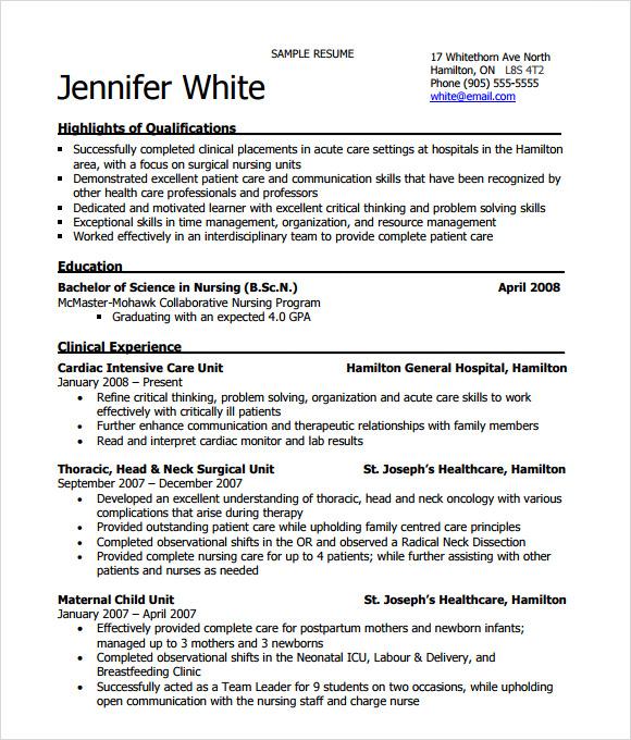 Sample Nurse Resume New Grad Graduate Nurse Resume Samples Best