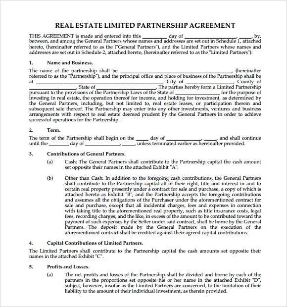 Real Estate Partnership Agreement Samples  Template