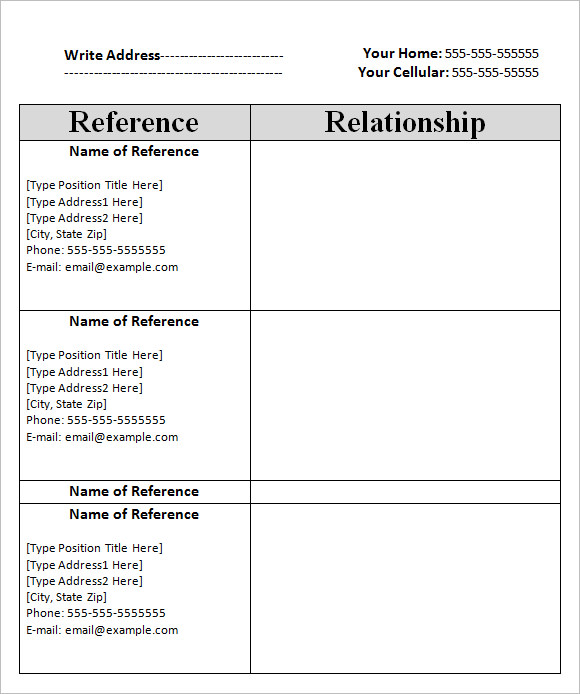 Sample Reference Sheet   Examples Format