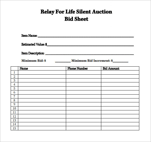 Sample Bid Sheet Template Silent Auction Bid Sheet Templates