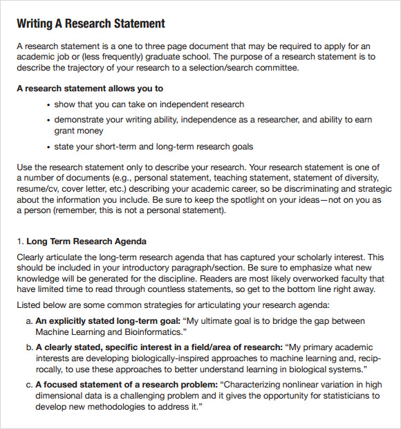 Sample Research Agenda   Examples Format