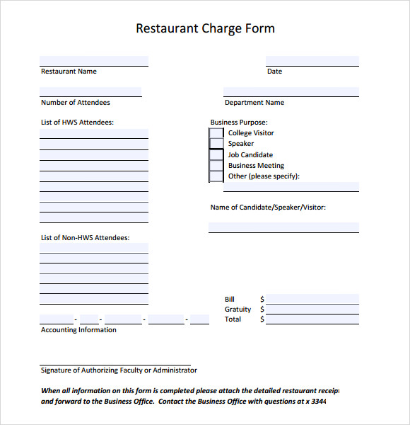 restaurant charge form