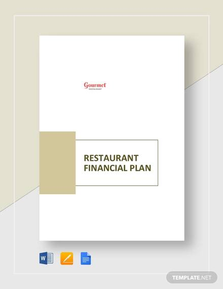 restaurant financial plan template