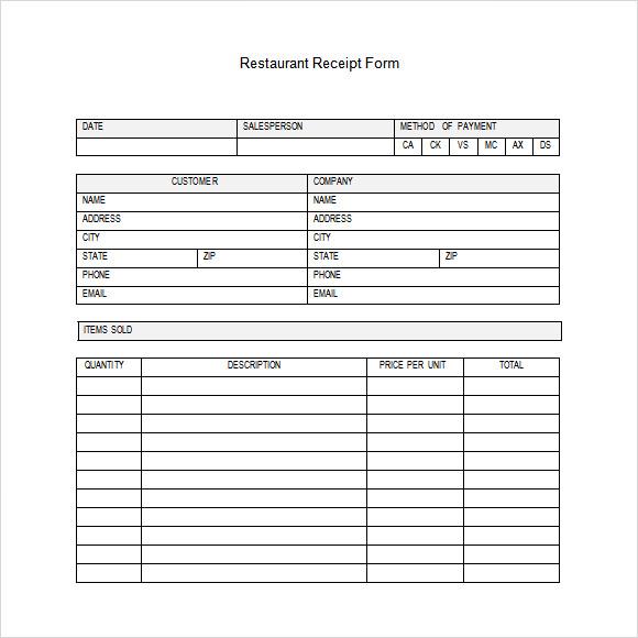 Restaurant Receipt Templates  Free Samples Examples Format