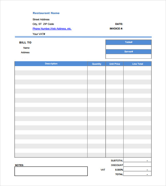 restaurant receipt template pdf