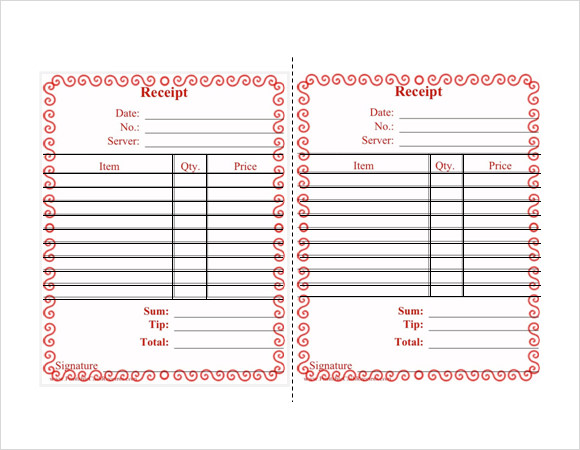 8 Restaurant Receipt Templates Free Samples Examples Format – Reciept Templates