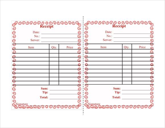 restaurant receipt template free