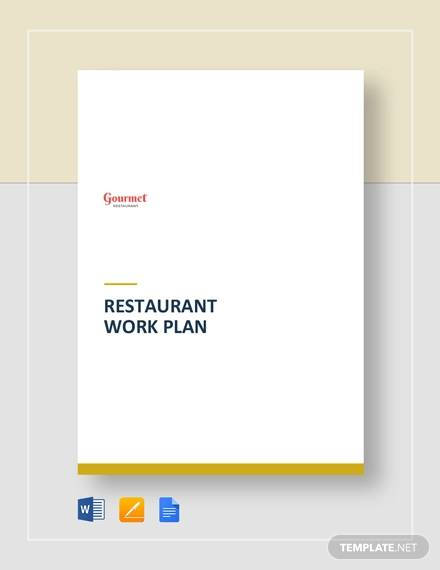 restaurant work plan template
