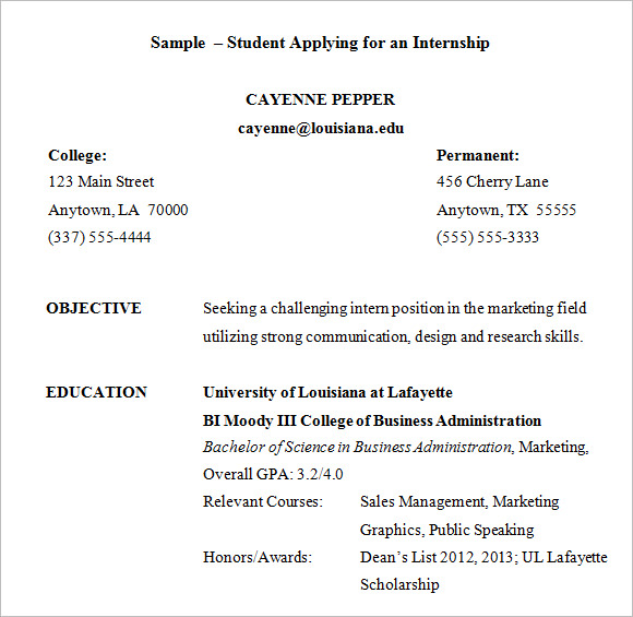 Resume Sample Internship  Resume Format For Internship