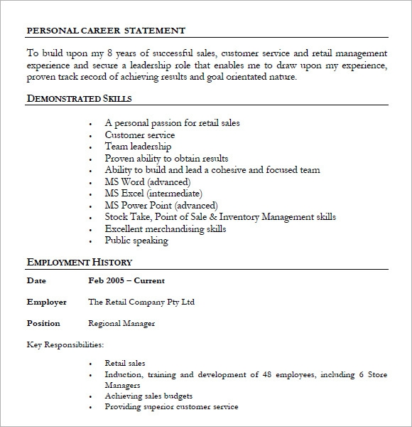 retail iq sample resume pdf