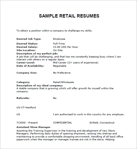 retail resume examples - Sample Resume For Retail Store