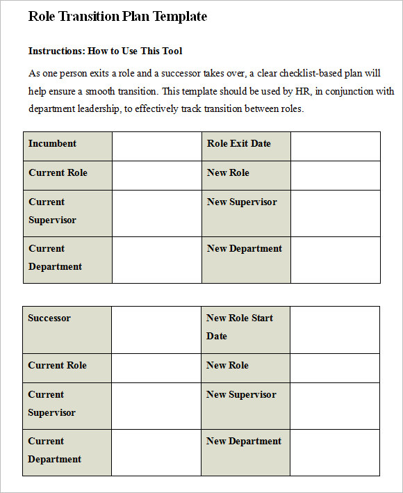 Transition Plan Template   Free Samples  Examples  Format