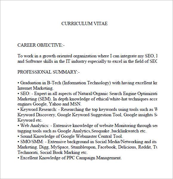 seo resume