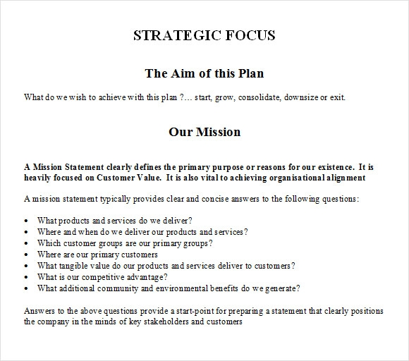 Sample Strategic Plan Template 8 Free Documents in PDF Word
