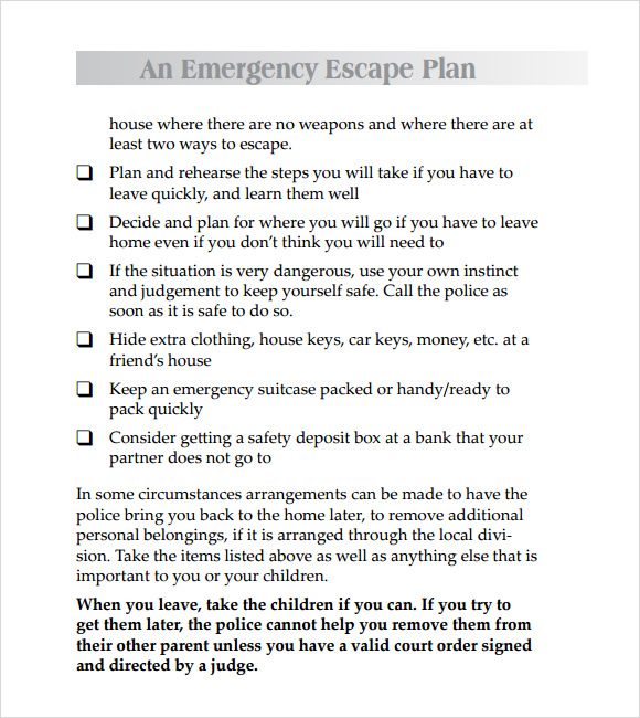Domestic Violence Safety Plan Template  Plan Template