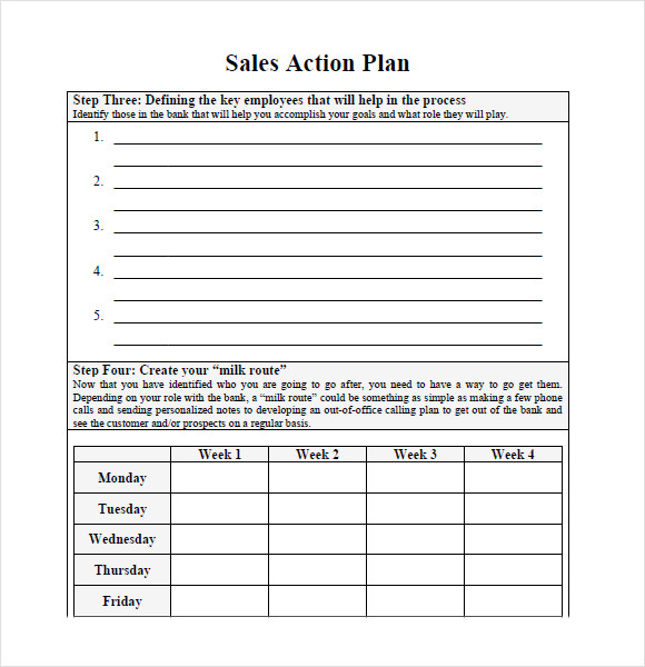 10 sales plan samples sample templates for Sales manager action plan template