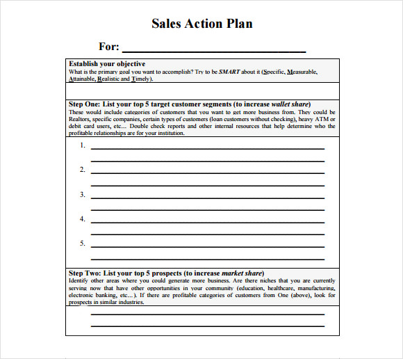 Sample Sales Plan 9 Example Format – Sales Action Plan Template