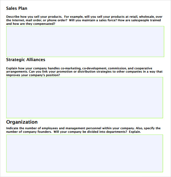 Sales Plan Template Word - Sales business plan template word