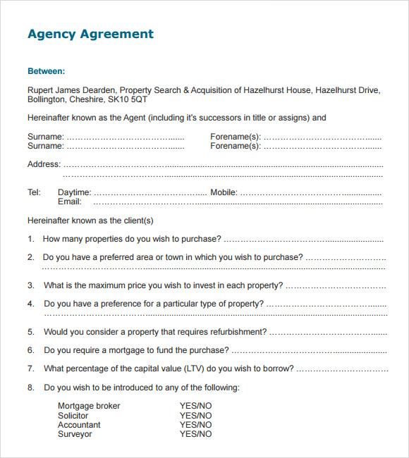Agent Contract Templates Commercial Agency Agreement Form Sample