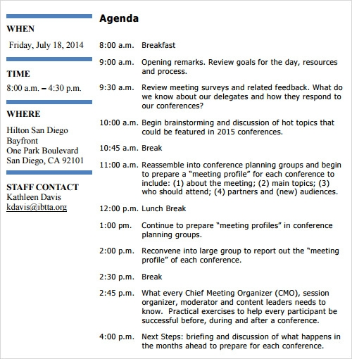 Sample Political Agenda Sampletrainingagendatemplate Training
