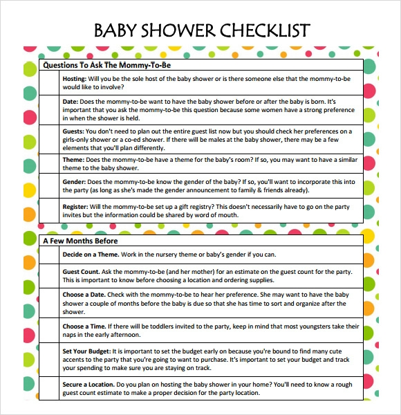 Sample Baby Shower Checklist 9 Documents in Word PDF – Baby Shower Checklist