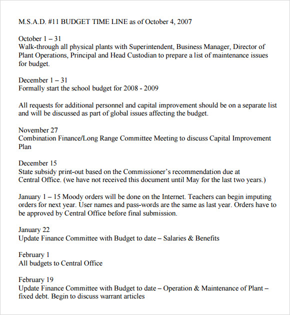Sample Budget Timeline Template