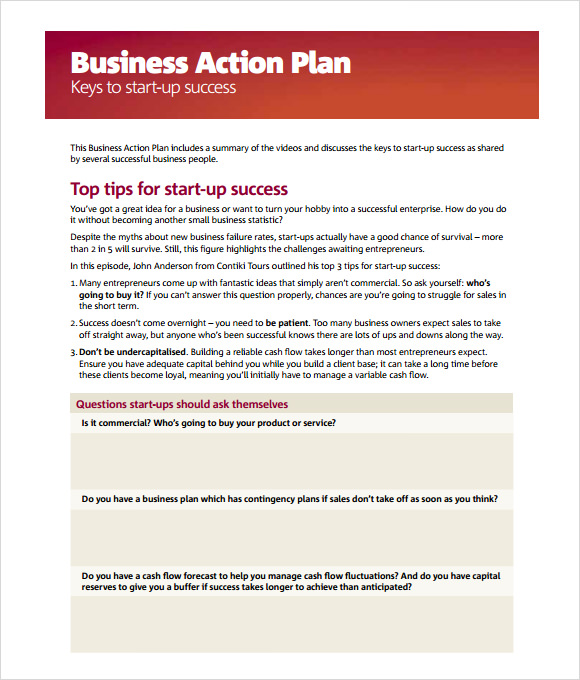Business Action Plan Template U2013 5+ Download Free Documents In PDF U2026