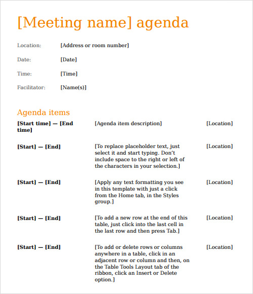 sample business meeting agenda template
